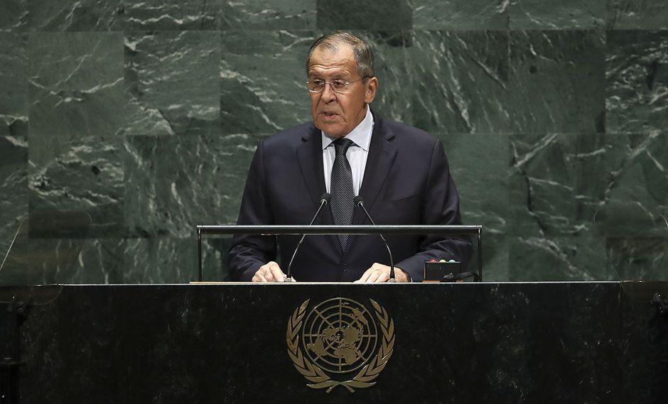 El Ministro de Relaciones Exteriores de Rusia, Sergey Lavrov, se dirige a la Asamblea General de las Naciones Unidas en la sede de la ONU, en Nueva York. (Foto: AFP)