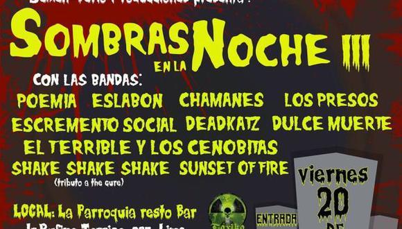 Concierto de rock underground 'Sobras en la noche III' reunirá a bandas peruanas. (Difusión)