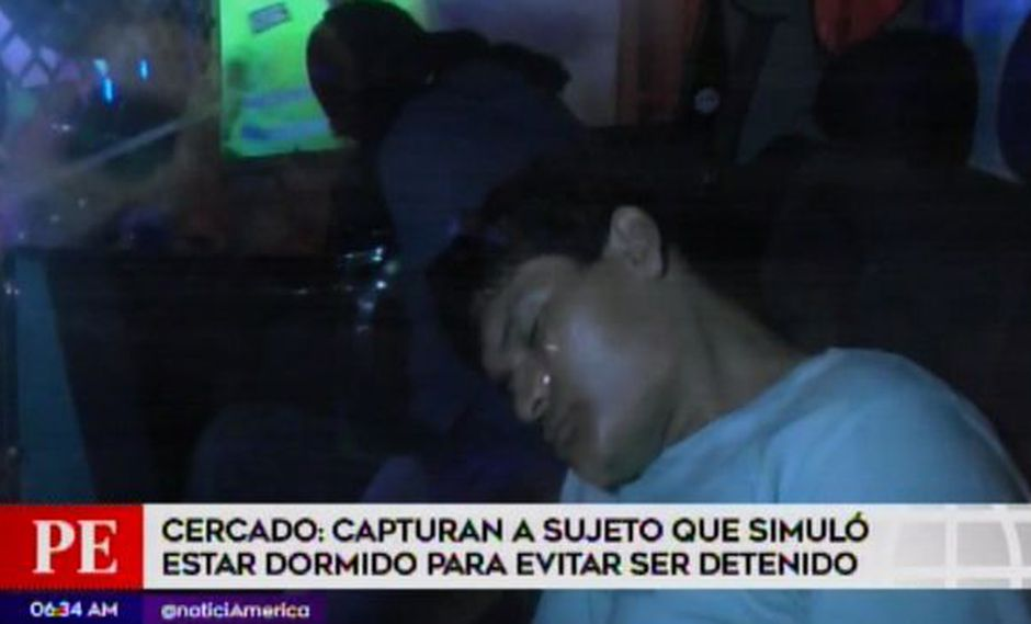 Se hizo el dormido para no ser detenido. (Foto: Captura de video / América Noticias)
