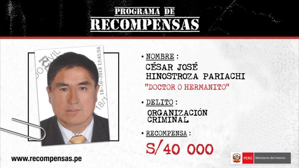 César Hinostroza: Se ofrece S/40 mil por información sobre su paradero.