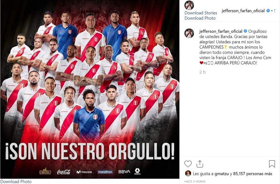 """Jefferson Farfán: """"Gracias por tantas alegrías ¡Ustedes para mi son los campeones!"""". (Instagram)"""
