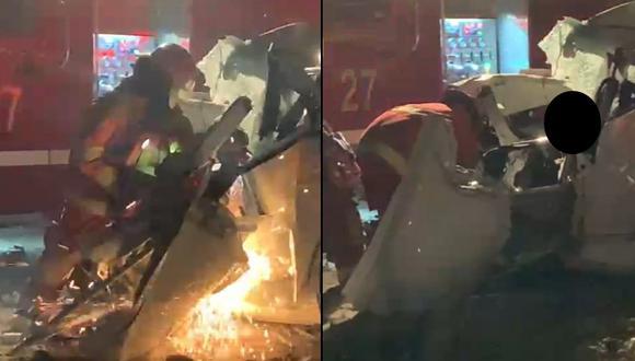 Chiclayo: Vehículo acaba triturado tras fuerte choque con tráiler y dos personas fallecen (Foto: PNP)