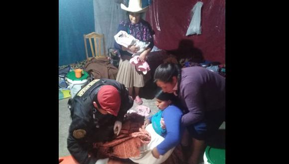 Policías atendieron a gestante primeriza en Cajamarca. (PNP)