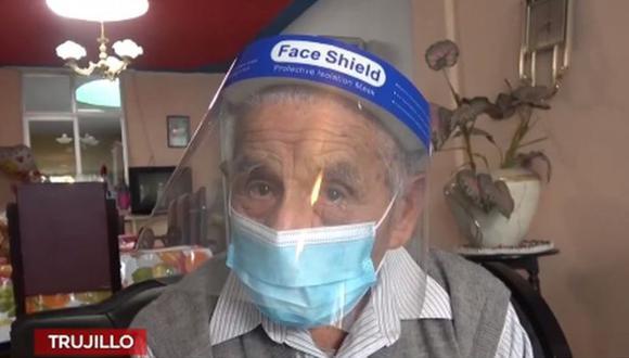 José Rosas Javier, excombatiente de la Guerra del 41, pide ser vacunado contra el coronavirus. (Captura: América Noticias)