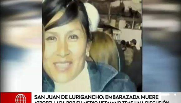 Embarazada murió luego de ser atropellada presuntamente por su medio hermano tras una discusión. (Captura: América Noticias)