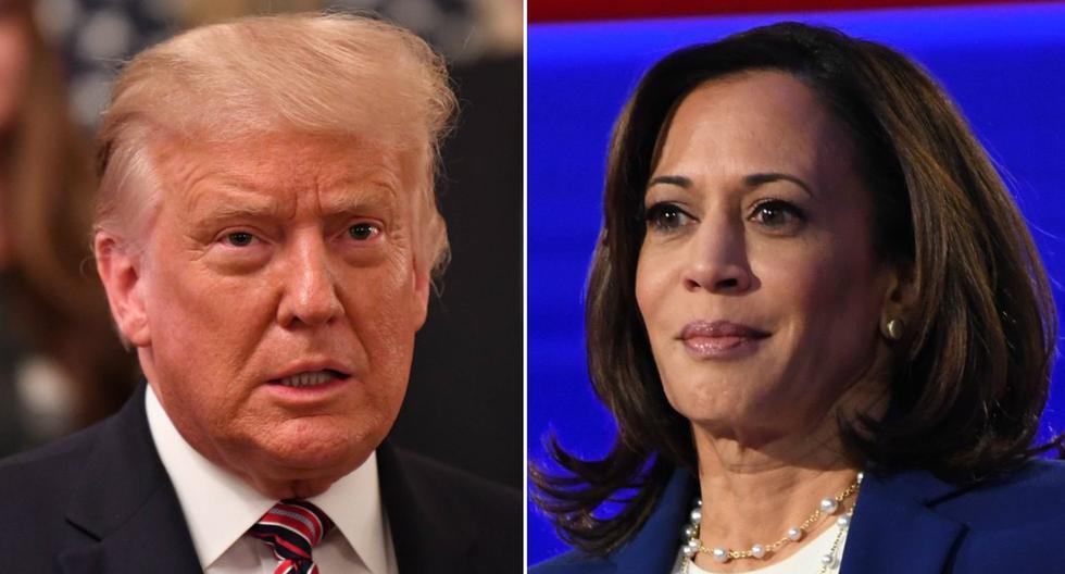 El presidente de Estados Unidos  va por detrás de Joe Biden en las encuestas de cara a las elecciones del 3 de noviembre. En la imagen, Donald Trump y Kamala Harris. (AFP - Nicholas Kamm / Saul Loeb).