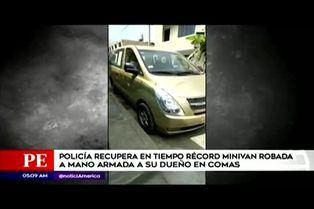 Comas: Policía recupera minivan robada en menos de 24 horas