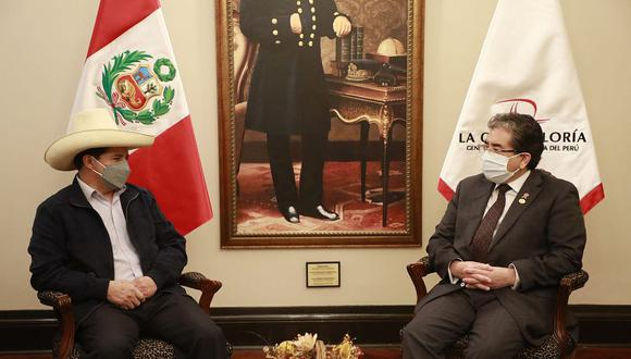 Pedro Castillo y Nelson Shack se reúnen en la sede ubicada en Jesús María. (Foto: Contraloría)