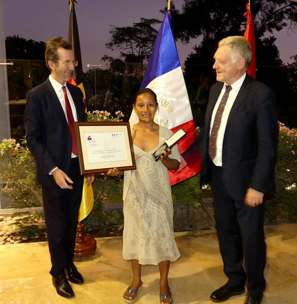 Liz Chicaje Churay es la única peruana en obtener el Premio Franco-Alemán de Derechos Humanos.(Foto: Embajada de Francia)