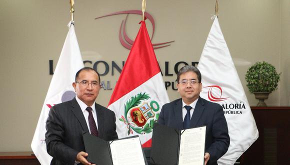 El presidente del Jurado Nacional de Elecciones, Víctor Ticona, firmó convenio con el contralor Nelson Shack