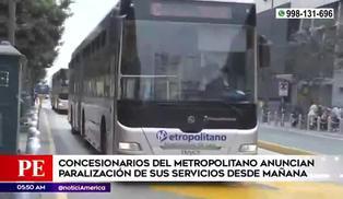 Metropolitano anuncia suspensión de servicio desde el 1 de diciembre