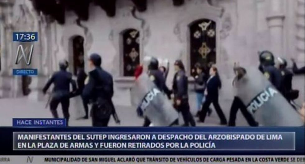 Manifestantes del SUTEP protestan en Plaza de Armas. (Video: Canal N)