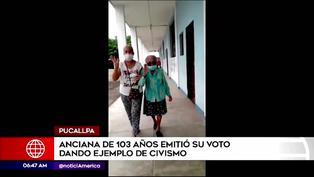Pucallpa: anciana de 103 Años acudió a las urnas