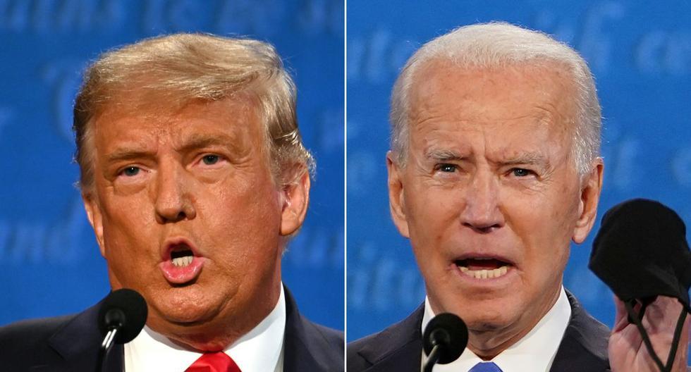 El presidente de Estados Unidos, Donald Trump, y su rival demócrata, Joe Biden, debatieron por última vez previo a las elecciones en Nashville. (Fotos: JIM WATSON and Brendan Smialowski / AFP).