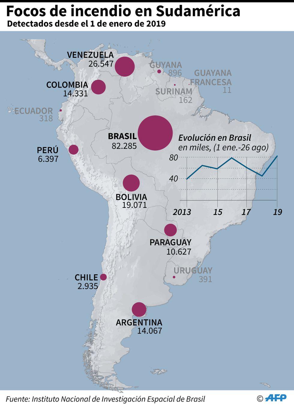 Cantidad de focos de incendio detectados en Sudamérica, por país, desde el 1 de enero de 2019. (AFP)