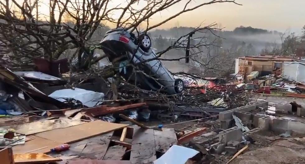 El Servicio Meteorológico Nacional (NWS) mantiene para el martes la alerta de tornado en gran parte de Alabama. (Captura de pantalla/Twitter).