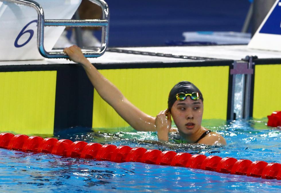 Paula Tamashiro rompió récord nacional de natación en 100 metros estilo pecho. (GEC)