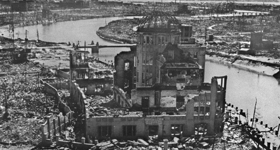 Así quedó el edificio de Promoción Industrial de la Prefectura de Hiroshima tras el impacto. (AFP)