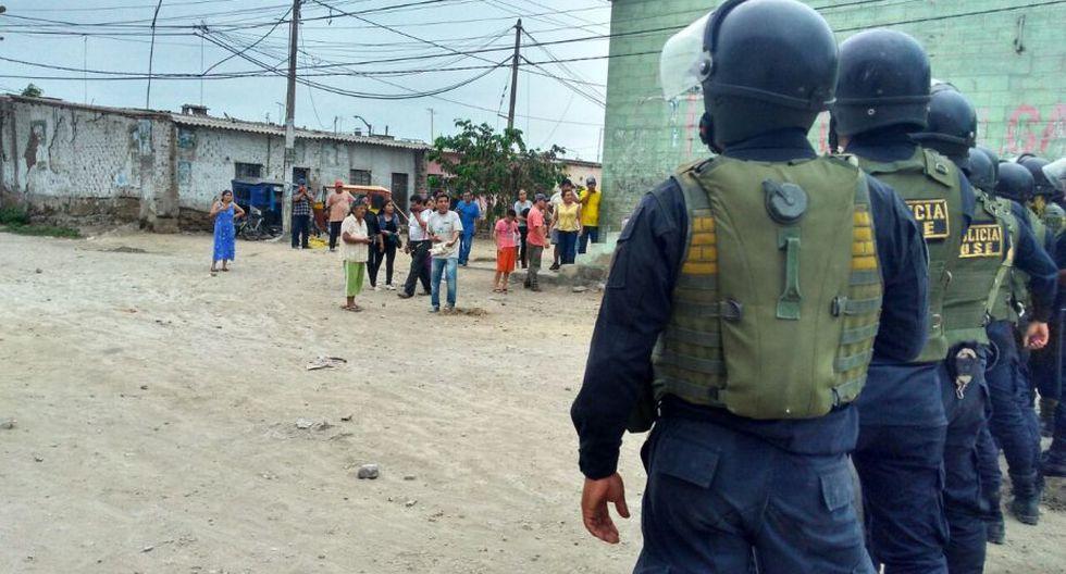Pobladores no aceptan estado de emergencia en Tumán. (Difusión PNP)