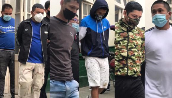 Seis de los siete atacantes detenidos por la policía. (Foto: PNP)