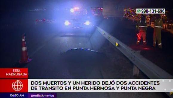 Accidentes se ocurrieron en Punta Negra y en Punta Hermosa. (Captura: América Noticias)
