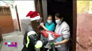 Yahaira Plasencia sorprendió a vecinos del Rímac con canastas navideñas