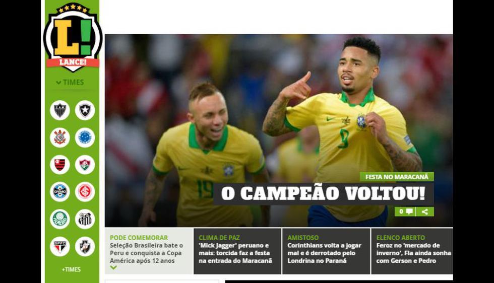La reacción de la prensa brasileña tras el título de la 'Canarinha' en la Copa América 2019.