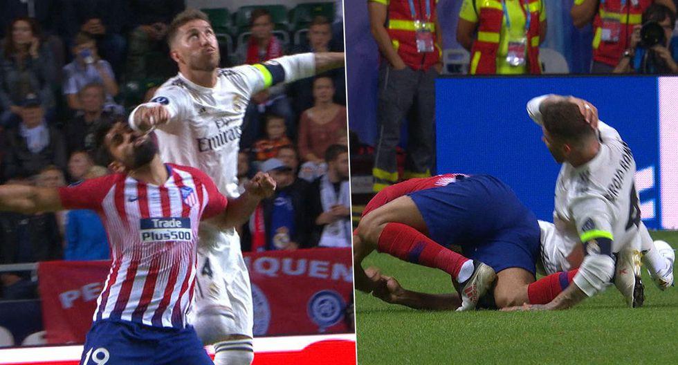 Sergio Ramos le aplicó un duro codazo a Diego Costa. (Foto: captura ESPN)