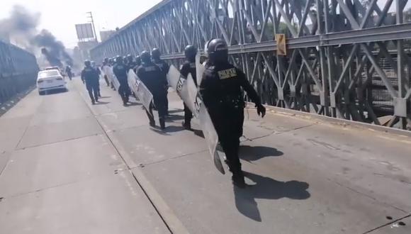 La Libertad: PNP desbloqueó el puente Bailey para dar acceso a vehículos por protestas