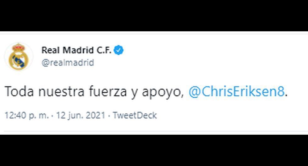 Los mensajes de apoyo a Christian Eriksen. (Captura: Twitter)