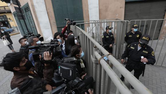 Se impidió el acceso a la prensa a la ceremonia en la que el presidente, Pedro Castillo, fue reconocido como jefe supremo de las Fuerzas Armadas y la Policía Nacional. (Foto: Anthony Niño de Guzmán/ @photo.gec)