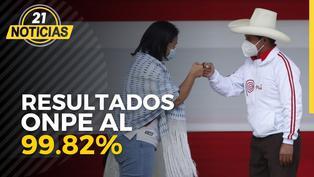 ONPE al 99.82%: Pedro Castillo 50.19% y Keiko Fujimori 49.80%