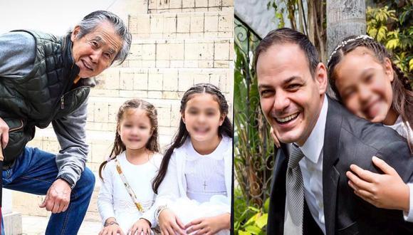 (Izq). Alberto Fujimori junto a sus nietas. (Der). Mark Vito y su hija.