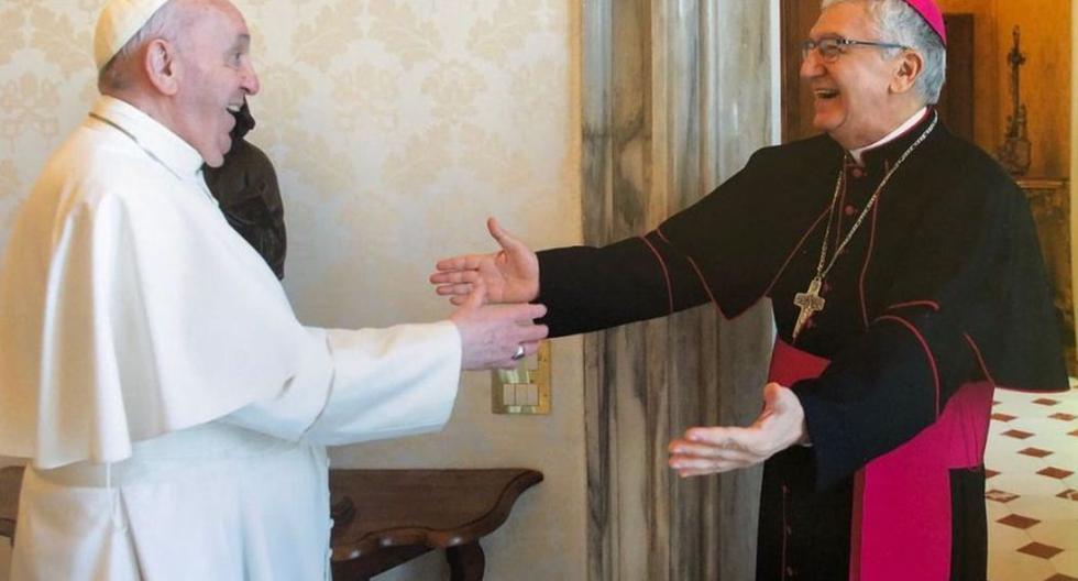 Imagen del papa Francisco con el  Arzobispo de Lima y Primado del Perú, Monseñor Carlos Castillo Mattasoglio. (Foto: Arzobispado de Lima).