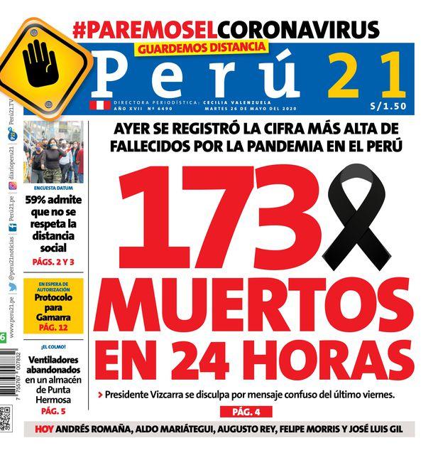 173 muertos en 24 horas (Portada 26-05-2020)