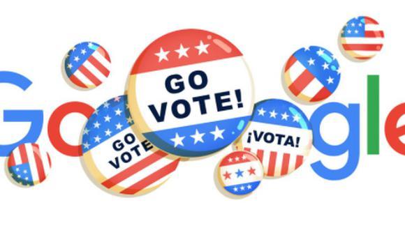 Google lanza doodle como recordatorio de las elecciones de Estados Unidos. (Google).