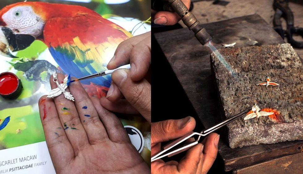 Las joyas las hace a mano y pinta con pigmentos orgánicos. (Foto: Difusión)