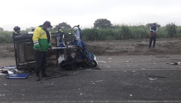 Áncash: los lesionados fueron auxiliados por el personal de Seguridad Ciudadana de Nepeña hacia la clínica San Pablo de Chimbote.