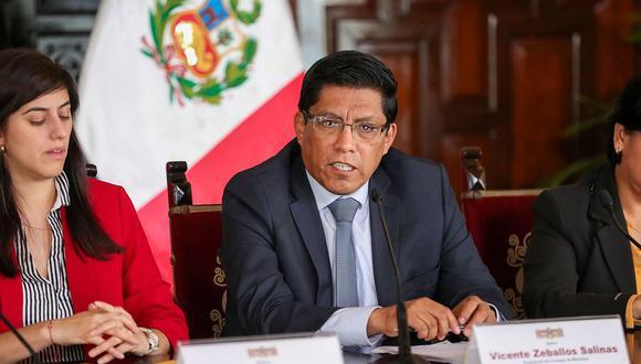 El presidente del Consejo de Ministros, Vicente Zeballos, respaldó a la ministra María Antonieta Alva. (Foto: Difusión)