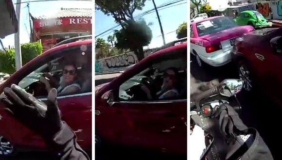 La imprudencia de una señora provocó un accidente que se volvió viral en redes sociales. (Foto: Miguel Hernandez en Facebook)