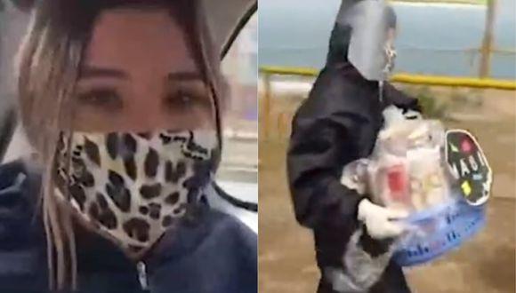 """La protagonista de """"Ven, baila quinceañera"""" llevó canastas de alimentos para las ollas comunes del asentamiento humano( Foto: Captura América TV)"""