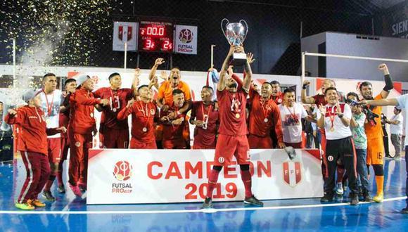 Universitario de Deportes se quedó con el título de la Liga Futsal Pro. (Foto: @Universitariotw)