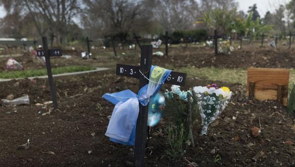 Una bandera nacional se envuelve alrededor de una cruz en una tumba en la sección COVID-19 del cementerio de Chacarita en Buenos Aires, Argentina, el martes 13 de julio de 2021. (AP/Victor R. Caivano).
