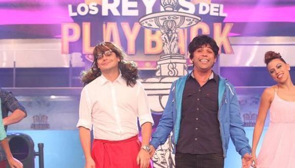 Gian Piero Díaz y Renzo Schüller se presentaron en 'Los reyes del playback'. (Twitter Los reyes del playback)