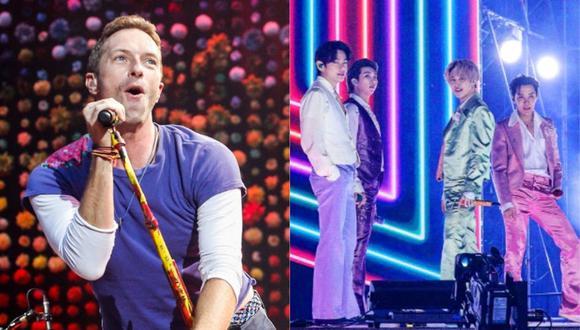 Chris Martin de Coldplay y BTS se reúnen para los detalles de su próxima colaboración. (Foto: AFP)