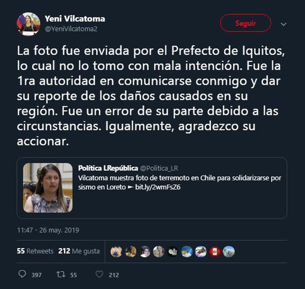 Yeni Vilcatoma publicó foto del terremoto de Chile por error. (Twitter)