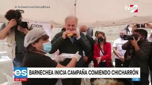 Barnechea empezó campaña presidencial degustando pan con chicharrón