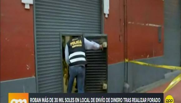 Hampones realizaron un forado en cafetería para ingresar a casa de cambio ubicada en la cuadra 5 del jirón Carabaya. (Foto: RPP TV)