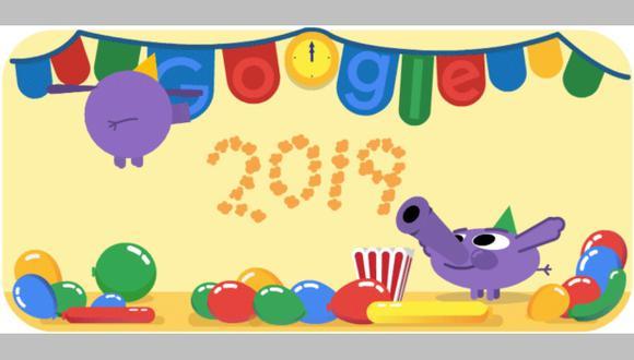 Google celebra el Año Nuevo 2019 con un doodle animado.