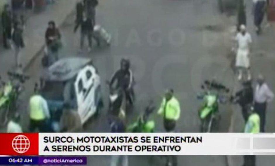 El enfrentamiento entre mototaxistas y agentes de serenazgo ocurrió el último sábado. (Captura: América Noticias)